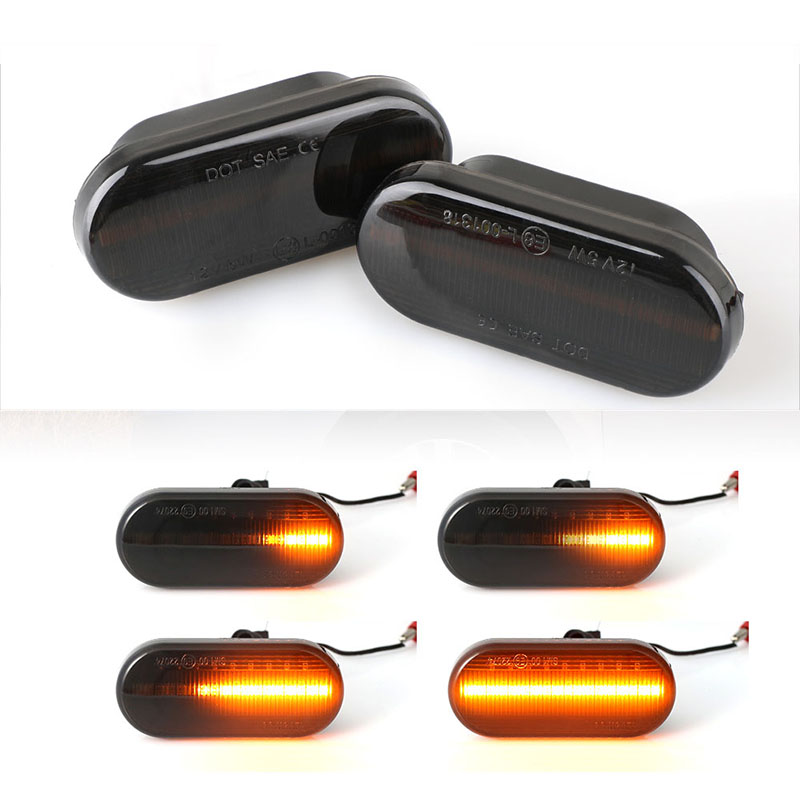 2pieces <font><b>Led</b></font> Dynamic Side Marker Turn Signal <font><b>Light</b></font> For vw t5 Bora <font><b>Golf</b></font> 3 <font><b>4</b></font> 5 Passat 6 3BG Polo SB6 ford focus mk2 ford mondeo mk4 image
