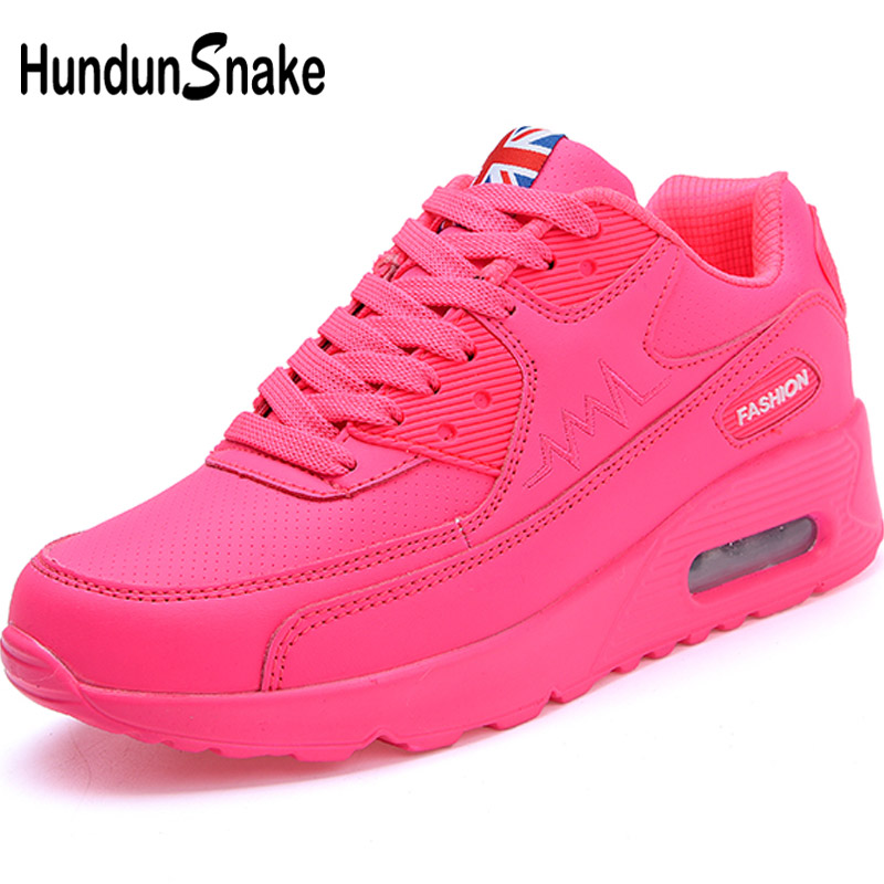 Hundunsnake Air Cushion Women's Sneakers For Women Leather Running Shoes Woman Sport Sneakers Pink Ladies Sports Shoes Woman T14