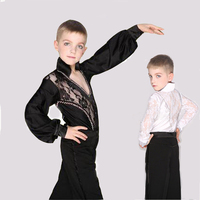 Black White Boys Sexy Latin Dance Costumes Modern Ballroom Tango Dance Wear For Boys Stage Performance Dancing Trainning