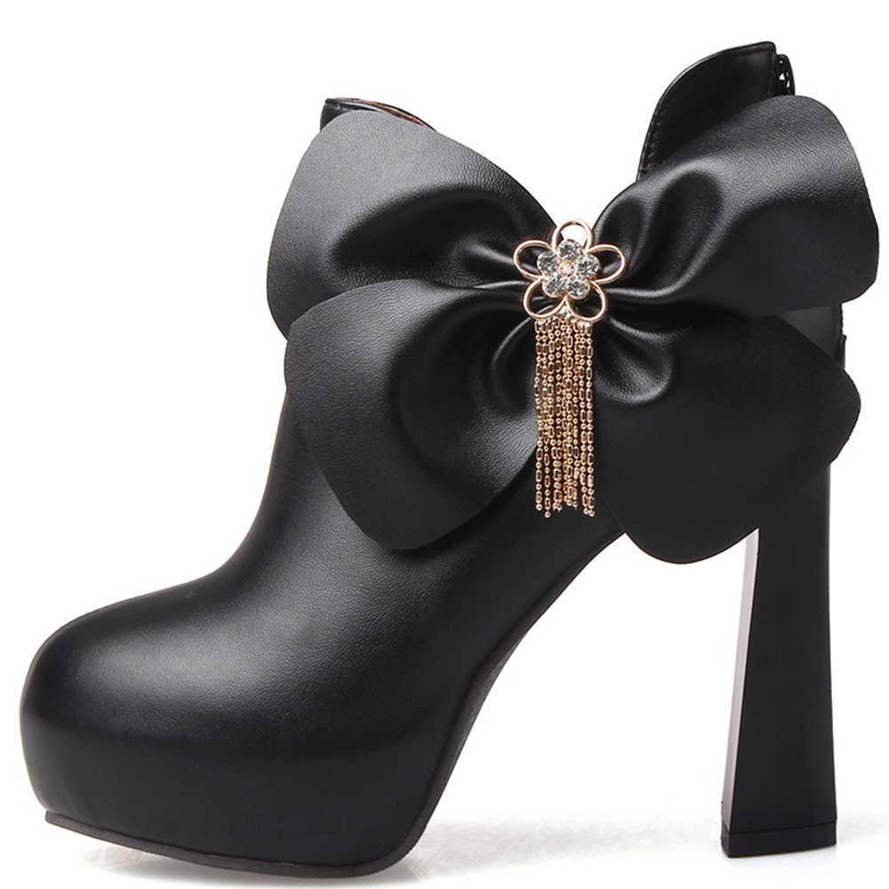 KARINLUNA Big Size 31-43 Lente Herfst Dames Party Sexy Ol Laarzen Vrouwen Mode Decoratie Enkellaarsjes Hoge Hakken schoenen Vrouw
