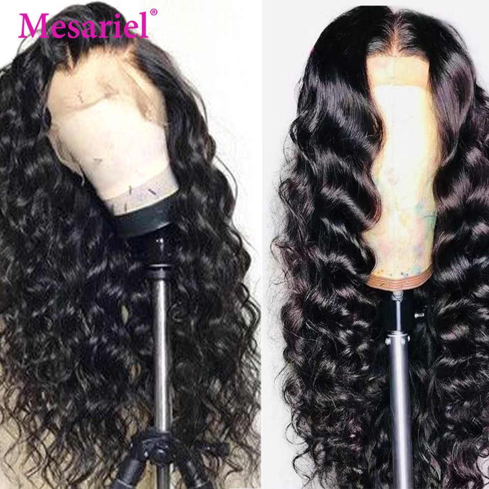 Peluca Frontal de encaje de Mesariel 13x4 pelucas de cabello humano Pre desplumado para mujeres Remy peluca Frontal de encaje de onda profunda peruano con el pelo del bebé