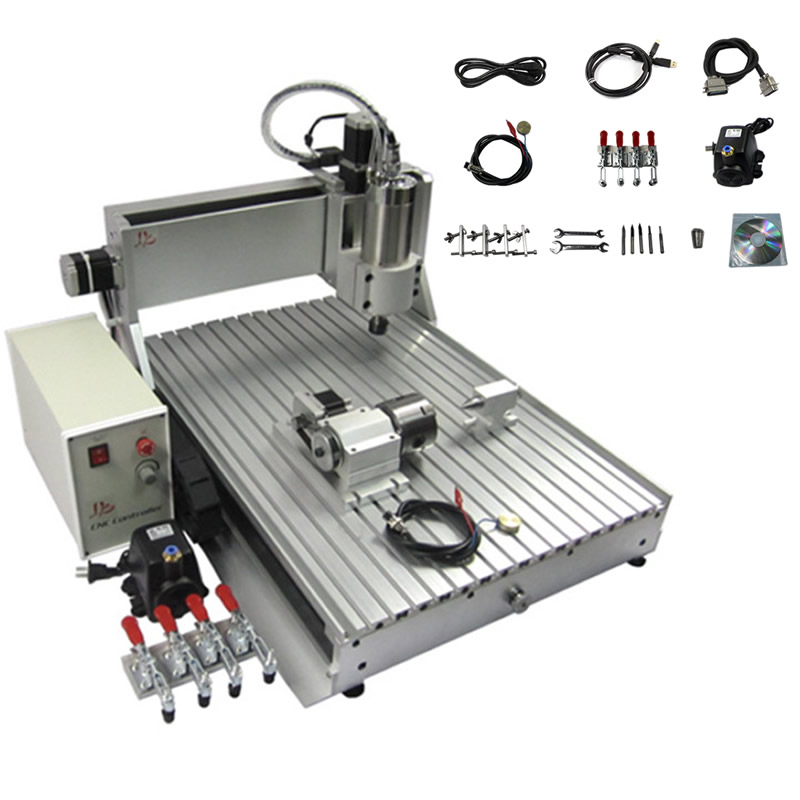 USB Port <font><b>60</b></font>*<font><b>40</b></font> 800W Spindle 4 Axis <font><b>CNC</b></font> router 6040 Mini 3d metal engraving drilling machine ER11 collet chuck image