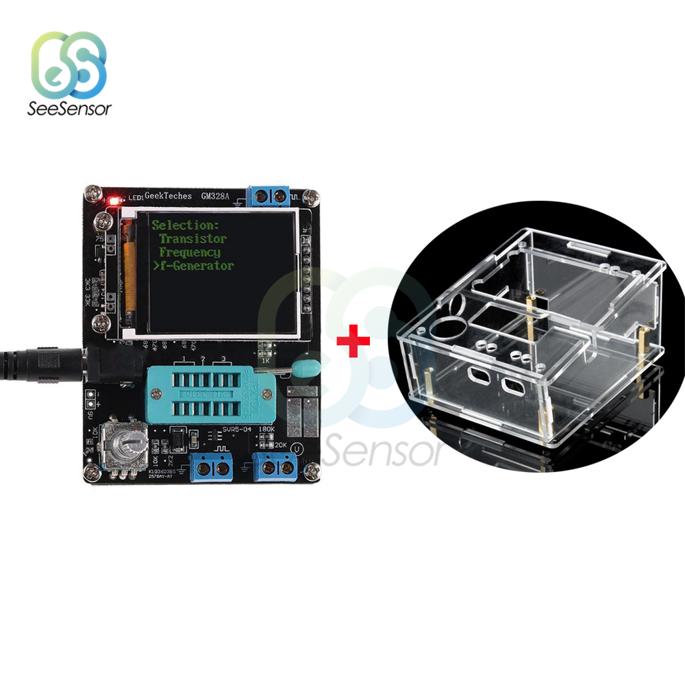 Mega328 w pełni zmontowany tester próbnik elektroniczny LCR dioda pojemnościowy miernik parametru esr PWM kwadratowy generator sygnałowy z obudową