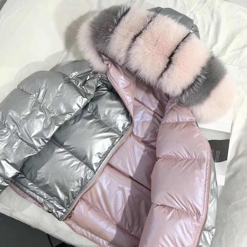 Jacke LUZUZI Warme Frauen Unten Weiße Natürliche dicke Pelz Unten Kragen Winter Ente Fuchs Lose Mantel Jacke Kurze Mantel Echtpelz 2019 WD92EIYH