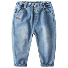 LZH Kids Clothing Boys Jeans 2020 New Korean Style Boys Casual Pants Baby Letters Embroidery Fashion Trousers Childrens Jeans cheap Cotton CN(Origin) Regular Pockets Full Length Fits true to size take your normal size Elastic Waist Solid Straight boys pants