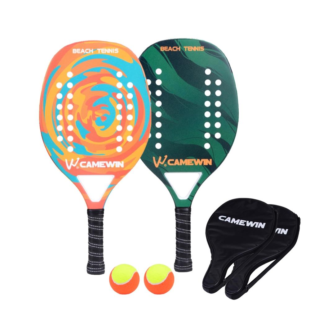 New Popular Beach Tennis Racket Carbon Fiber Men Women Sport Tennis Paddle Set With 2 Racquets  2 Bags And 2 Balls
