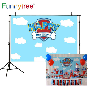 Funnytree Photography baby shower backdrop blue Sky dog paw 1st birthday photocall background party photozone photophone funnytree prince photography background baby shower royal blue crown damask birthday backdrop photocall photo studio printed