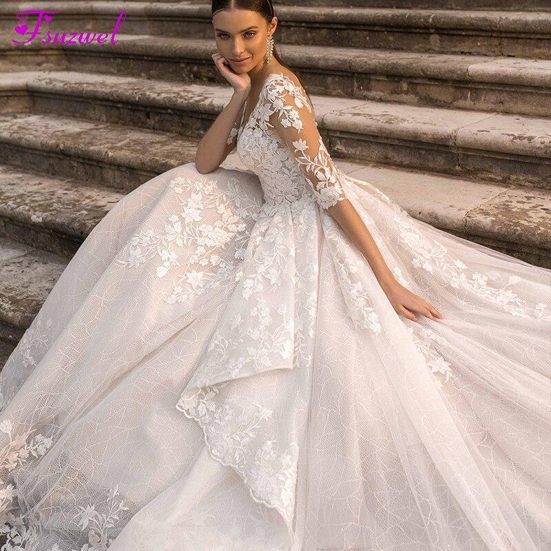 Fsuzwel Gorgeous Appliques Bride Court Train Lace A-Line Wedding Dress 2020 Charming Scoop Neck Half Sleeve Princess Bridal Gown