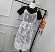 Hollow Out Perspective Dress Vest Lace Camisole The Skirt Clothes Woman Will Code Length Fund Smock Rendering A Gauze Skirt