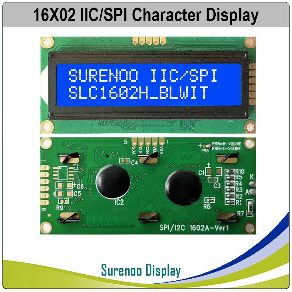 1602 162 16*2 Serial SPI I2C  Blue AIP31068L Character LCD Module Display Screen LCM With LED Backlight