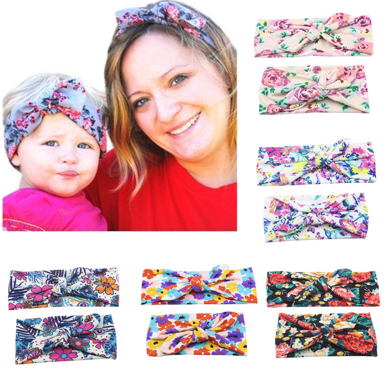 2pc-set-mom-rabbit-ears-hair-ornaments-tie-bow-headband-hair-hoop-stretch-knot-bow-cotton-mother-and-daughter-headbands-girl