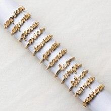 Letras simples ouro cobre taurus câncer aquário leo capricórnio peixes virgem gemini libra índice dedo anéis abertos para mulher