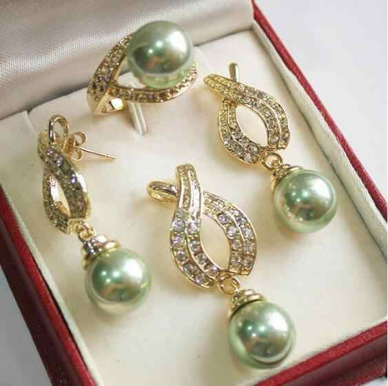 Jewelry Pearl Set  Hot! perfect match new jewelry 18KGP + 12mm green shell pearl pendant, earring, , ring set Free Shipping