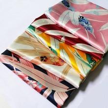 Por metro macio seda tecido de cetim floral charmeuse material forro diy cachecol têxtil