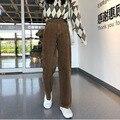 Свободные вельветовые брюки женские весенние широкие брюки с высокой талией осенние повседневные длинные брюки Harajuku уличная одежда бежевы...