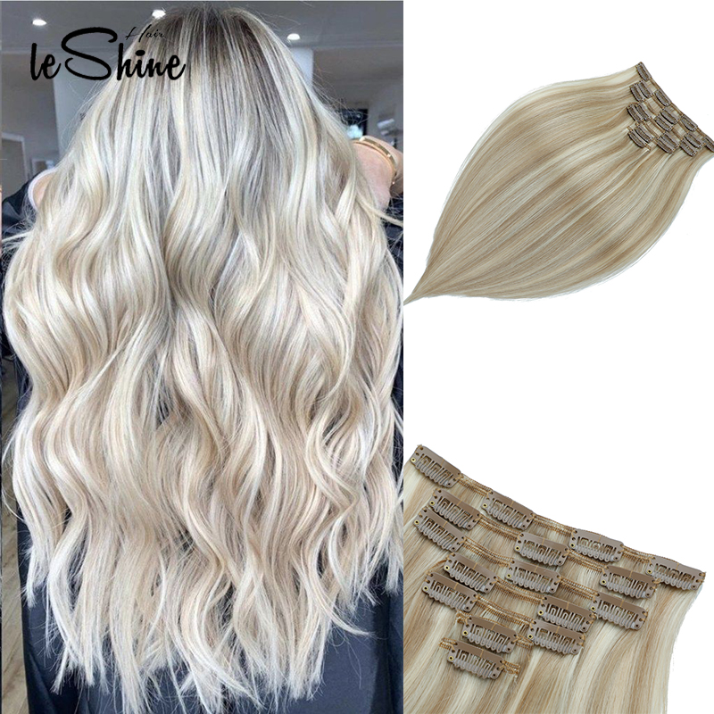 Leshine Remy Clip In Human Hair Extensions Ash Blonde Hair Extensions Double Drawn Clip Hair Silky Straight Hair 7pcs/set