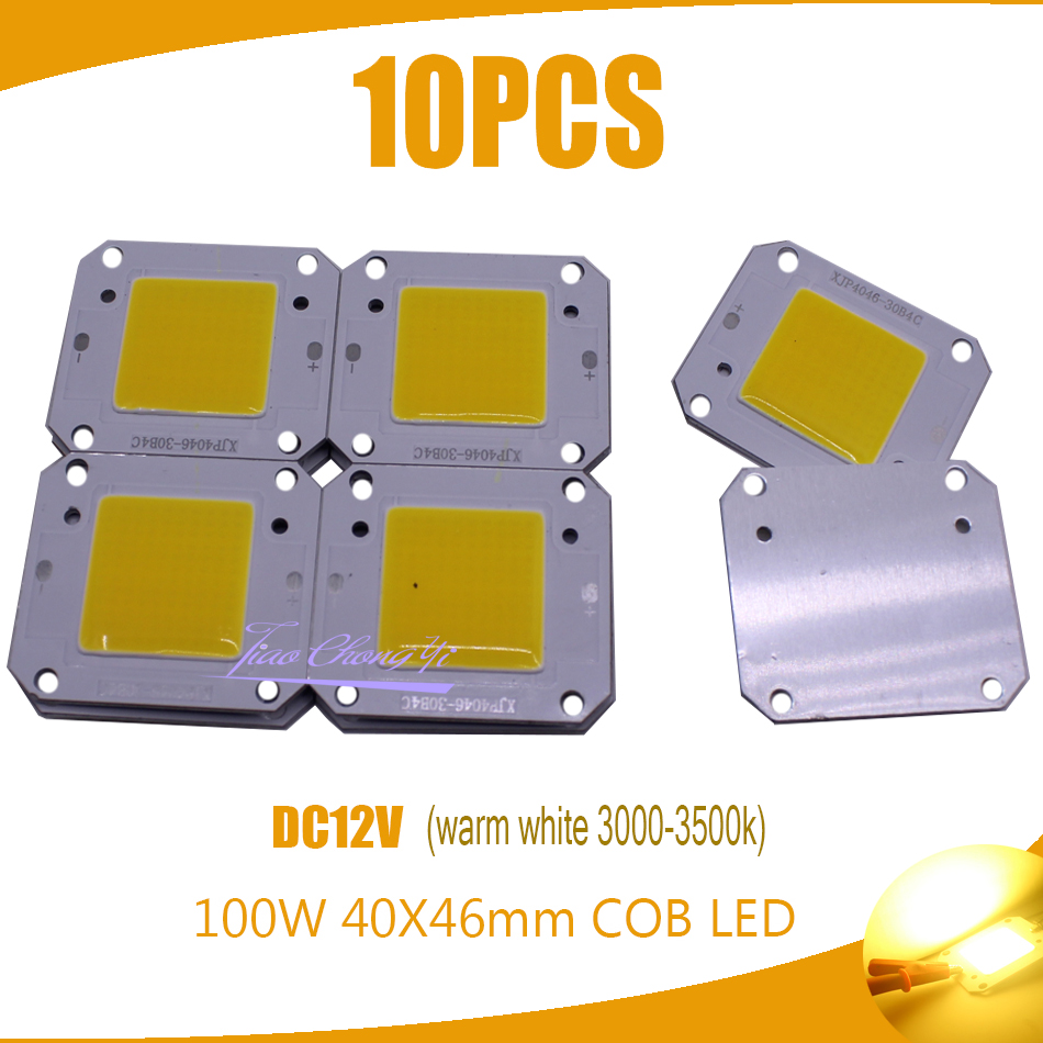 100W 40x46mm COB LED Chip warm white 3000-3500k 100LM/W LED DC12V 7A Chip Source for Flood Light Free shipping 10PCS