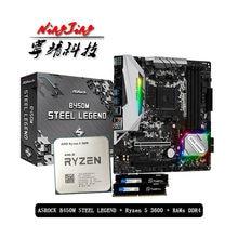 AMD – carte mère Ryzen 5 3600 R5 3600 CPU + ASROCK B450M STEEL LEGEND + Pumeitou DDR4 2666MHz, prise RAMs AM4 sans refroidisseur