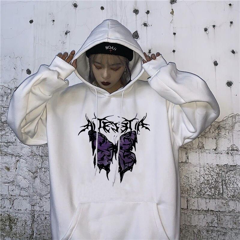 Inverno estilo gótico hoodie das senhoras moletom harajuku borboleta impressão com capuz estético hoodie primavera senhoras com capuz streetwear|Agasalhos e Moletons|   -