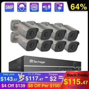 Image 1 - Techage 8CH 5MP POE NVR الأمن نظام الكاميرا اتجاهين الصوت سجل كاميرا IP داخلي في الهواء الطلق طقم مراقبة الفيديو الدوائر التلفزيونية المغلقة
