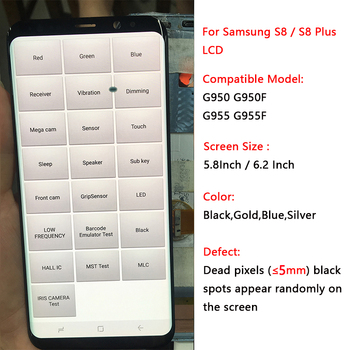 SUPER AMOLED S8 LCD With Frame For Samsung Galaxy S8 G950 G950F Display S8 Plus G955 F955F Touch Screen Assembly With Black Dot