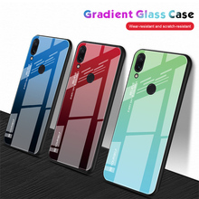 Tempered Glass Case for Xiaomi Redmi Note 7 6 K20 Pro Glossy Stained Gradient Colorful Case for Redmi 7 6A 6 Pro 5 Plus