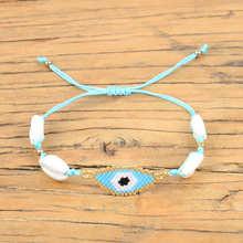 Shinus 5Pcs/lot Evil Eye Bracelet Shell Miyuki Women Perles Pulseras Mujer 2019  Jewelry Factory Handmade