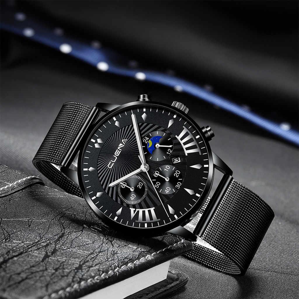 Mewah Pria Jam Tangan Stainless Steel Magnetic Net dengan Kalender Sederhana Pria Watch Relogio Masculino Bayan Kol Saati Clock