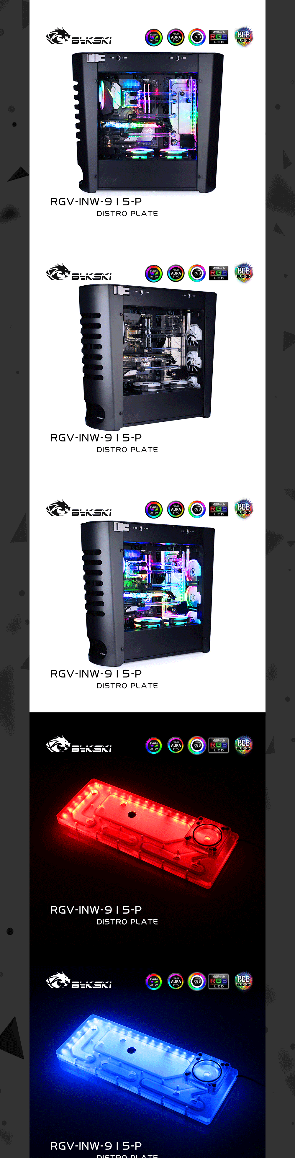 Bykski RGV-INW-915-P Waterway Board, Distro Plate For INWIN 915 Dynamic Chassis, Acrylic Water Tank Liquid cooling System