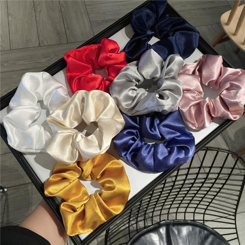 Satin Silk Scrunchies Elastic Hair Bands for Women Net Yarn Ribbon Bow Hair Accessories Large Intestine Ponytail Holder Hair Tie