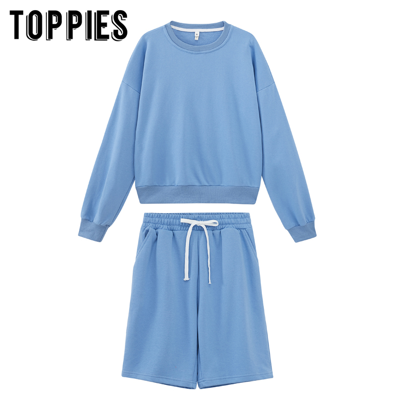toppies 2020 women two piece set tracksuits o-neck sweatshirts elastic high waist bermuda shorts solid color 5