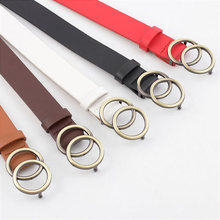 Women Soft Faux Leather Double Ring Buckle Vintage Decorative Casual Tighten All-Match Lightweight Long Belt Solid Holes