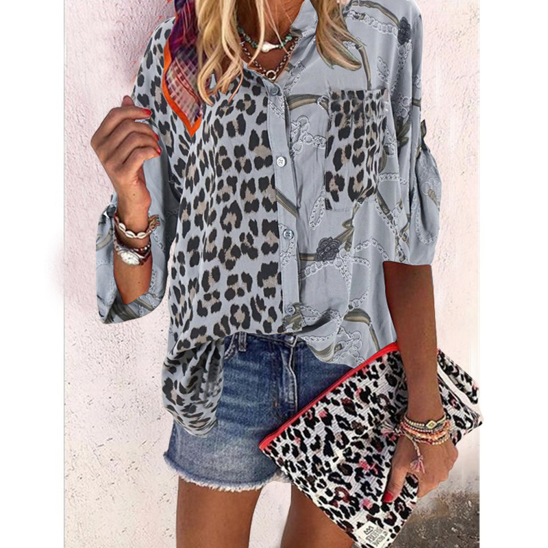 New Spring 2020 Women's Clothing Shirt Female Stand Collar Long Sleeve Print Floral Splicing Leopard Shirts