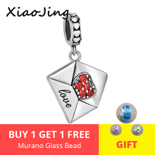 XiaoJing 925 sterling silver heart charm envelope of Love pendant bead with Red CZ fit Pandora bracelet for Women Jewelry gift недорого
