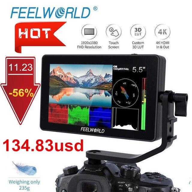 FEELWORLD F6 בתוספת 5.5 אינץ IPS 3D LUT מסך מגע 4K HDMI צג מלא HD 1920x1080 מצלמה שדה צג עבור DSLR וידאו סרט