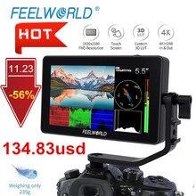 FEELWORLD Monitor de campo para cámara DSLR F6 PLUS, pantalla táctil IPS 3D de 5,5 pulgadas, 4K, HDMI, Full HD, 1920x1080