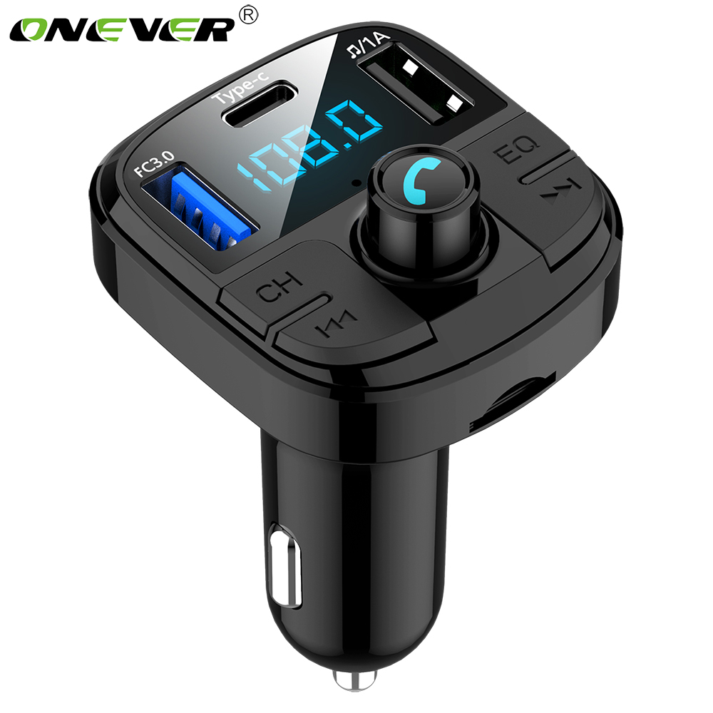 Onever Fm Transmitter Auto Bluetooth 5.0 Car Kit MP3 Fast charging QC3.0 Modulator Car Charger Double USB Stable Car Accessorie|FM Transmitters| |  - title=