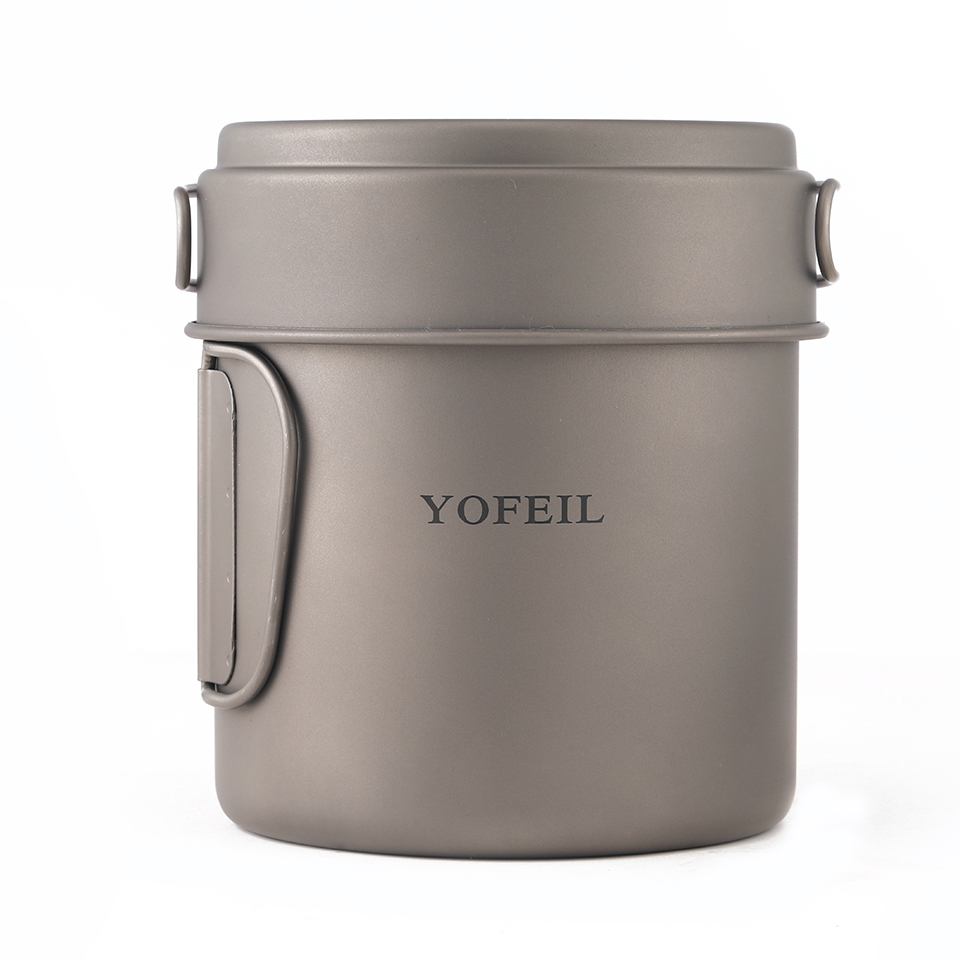Yofeil camping cookware ultralight titanium frying pan bowl cup outdoor camping cooking set high quality hiking picnic tableware