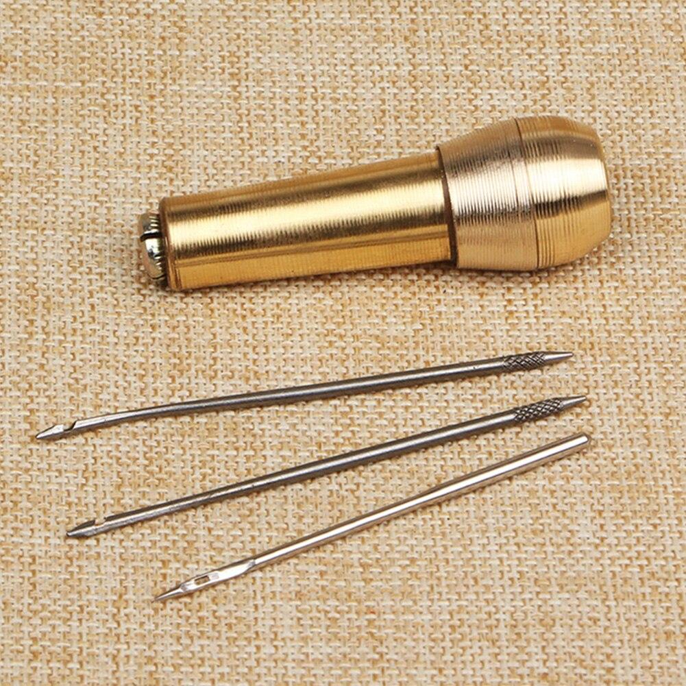 1 conjunto de couro grosso lona reparação awl ferramenta diy costura sapato destacável kit artesanato agulha costura cobre