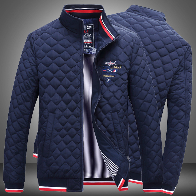 Autumn Winter 2020 New Mens Hot Sale Quality Shark Brand Warm Outwear Cotton Clothing Male Fashion Loose Coats Casual Jackets(China)