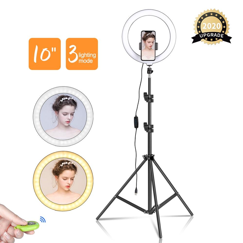 10inch/26cm LED Ring Light Photography Selfie Ring Lamp USB Video Light with Tripod & Phone Holder For Tiktok & Youtube Makeup