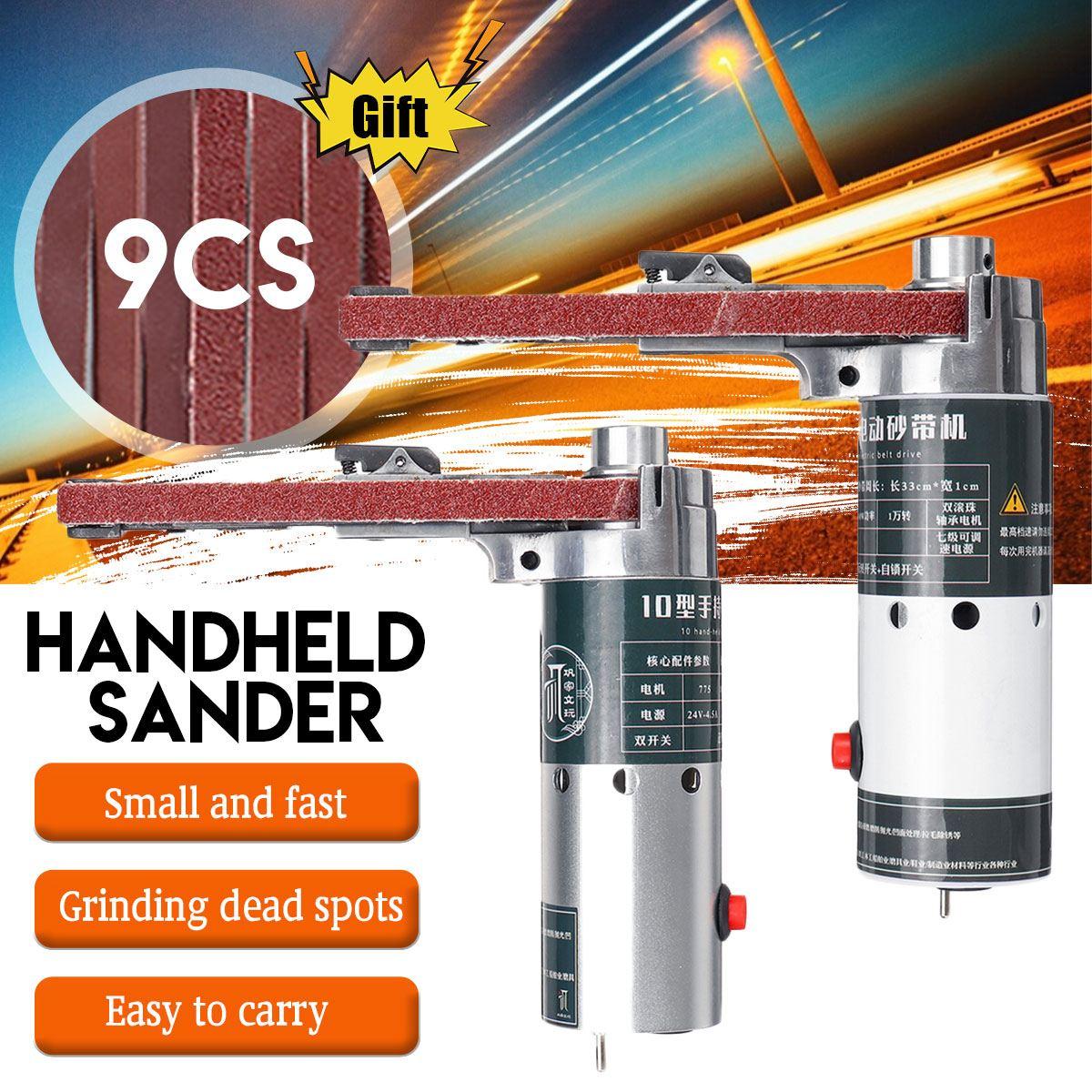 Angle Grinder Electric Belt Sander DIY Mini Grinder 10000/min Small Hand-held Machine With 9pcs Sanding Belt Woodworking