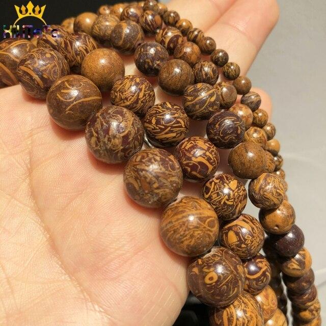 Jaspers de peau déléphant en pierre naturelle perles entretoises en vrac rondes pour bijoux bricolage faisant des accessoires de Bracelet 15 4 6 8 10 12 mm