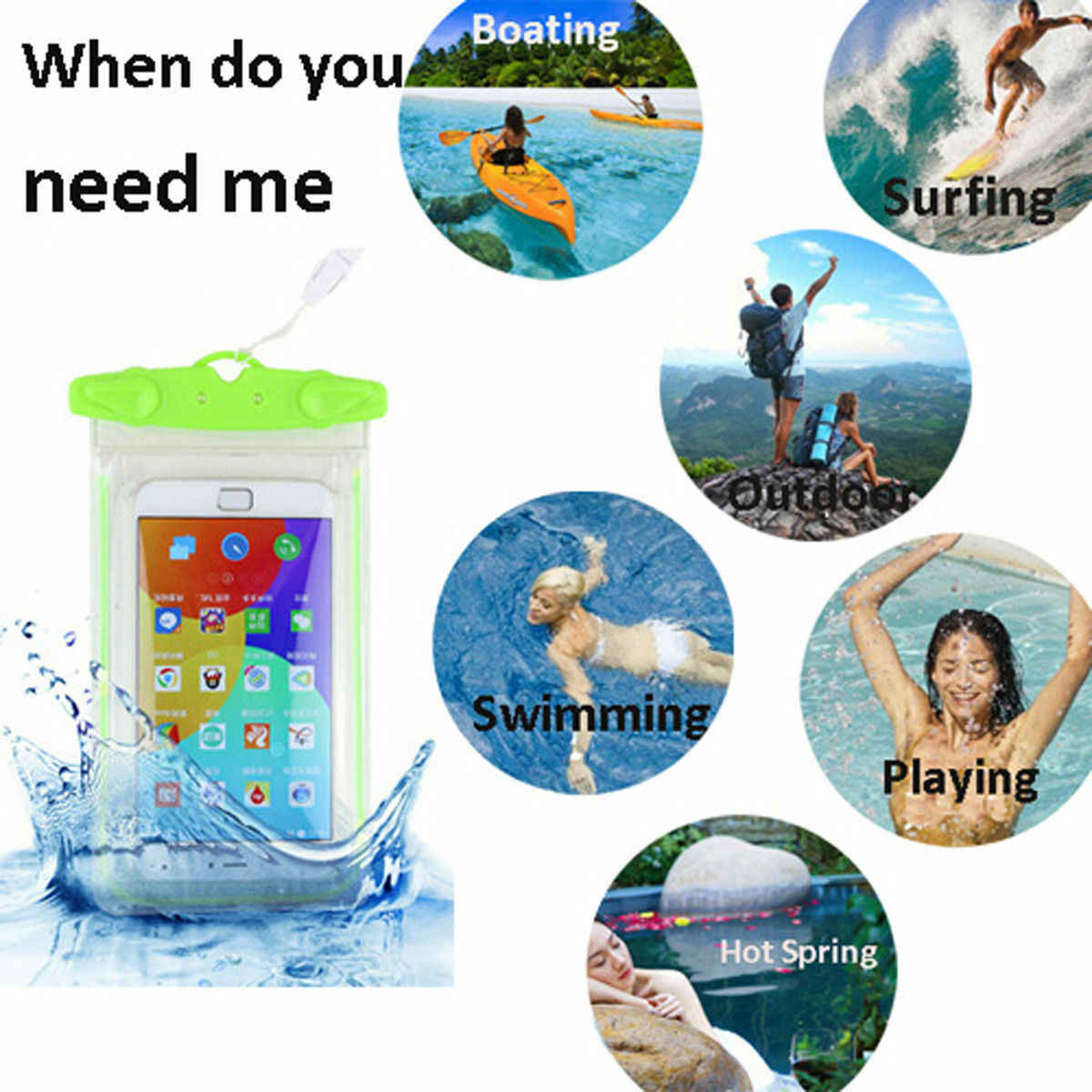 في الهواء الطلق للماء الهاتف المحمول حقيبة الحقيبة السباحة الشاطئ حقيبة جافة حالة غطاء حامل ل هاتف محمول