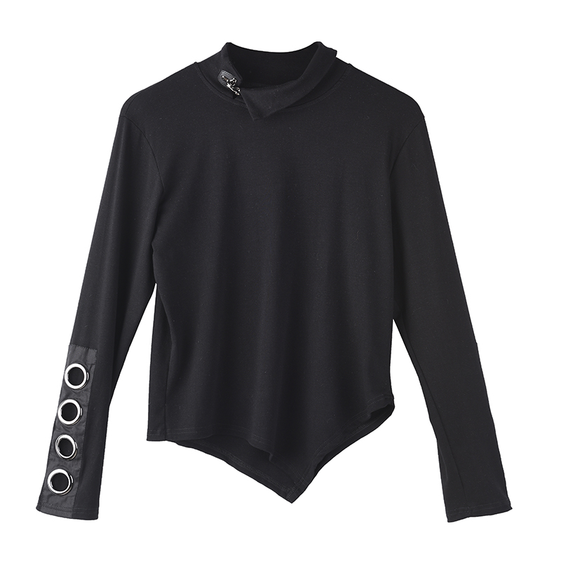 [EAM] Women Black Hollow Out Asymmetrical Split Joint T-shirt New Stand Collar Long Sleeve  Fashion Spring Autumn 2020 1M87401 7