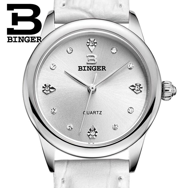 Schweiz Binger frauen uhren luxus quarz wasserdichte uhr 4 farbe erhältlich echtes lederband Armbanduhren BG9006-in Damenuhren aus Uhren bei  Gruppe 1