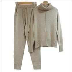 30% шерстяной и 45% кашемировый вязаный теплый костюм с узором свитер с высоким воротником + кашемировые брюки из норки комплекты из двух предм...