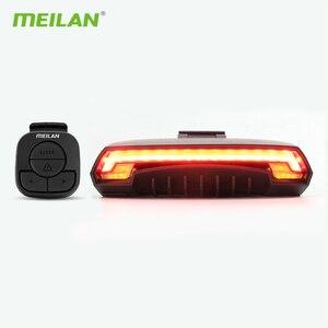 Image 1 - Meilan lampe de bicyclette de frein intelligent, Rechargeable par USB, Laser, clignotant, feu arrière, télécommande sans fil