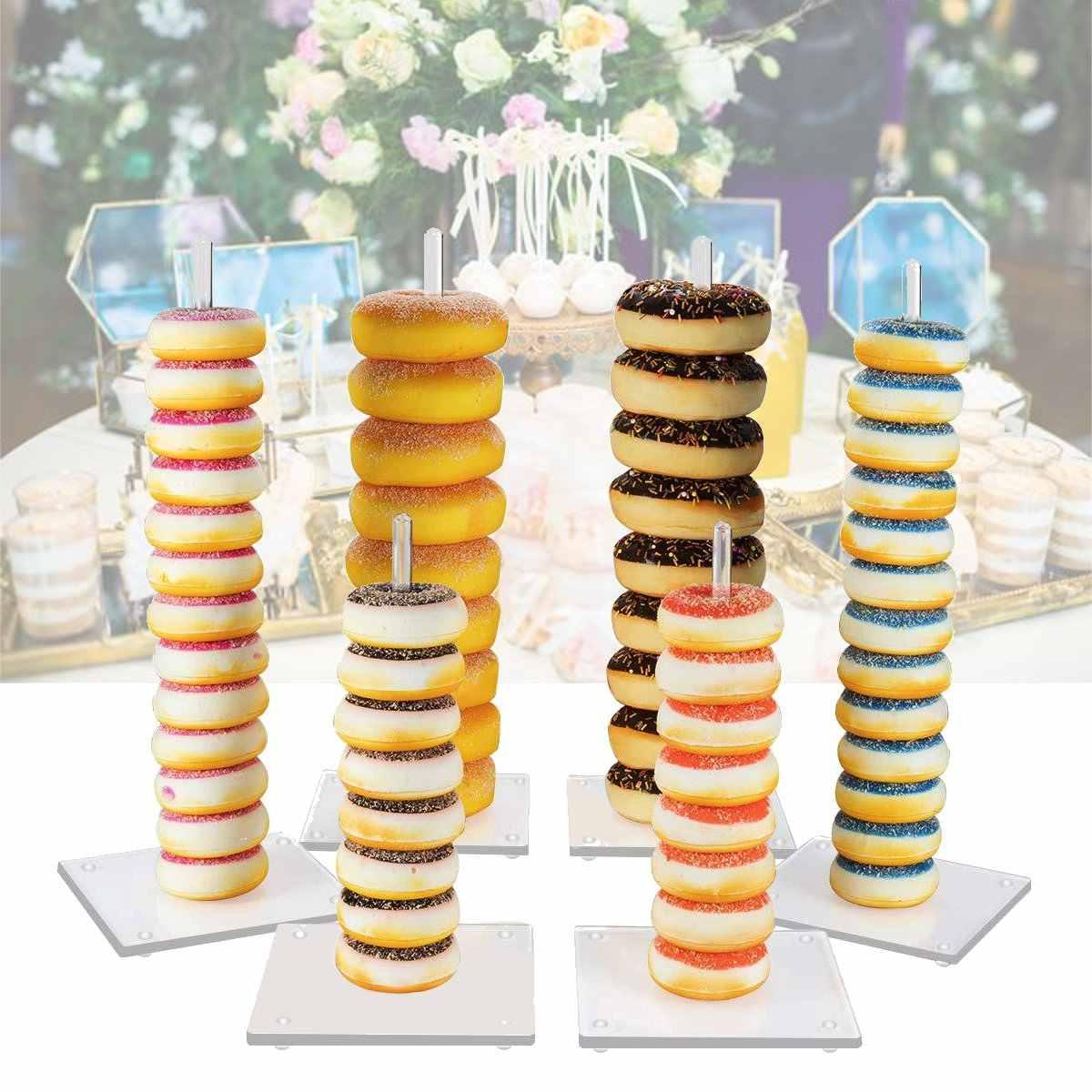 6 ชิ้น/เซ็ตโดนัทขาตั้ง Donut Wall ผู้ถือจอแสดงผลงานแต่งงานตกแต่งอะคริลิค Candy Sweet Rack วันเกิด Baby Shower PARTY Favor
