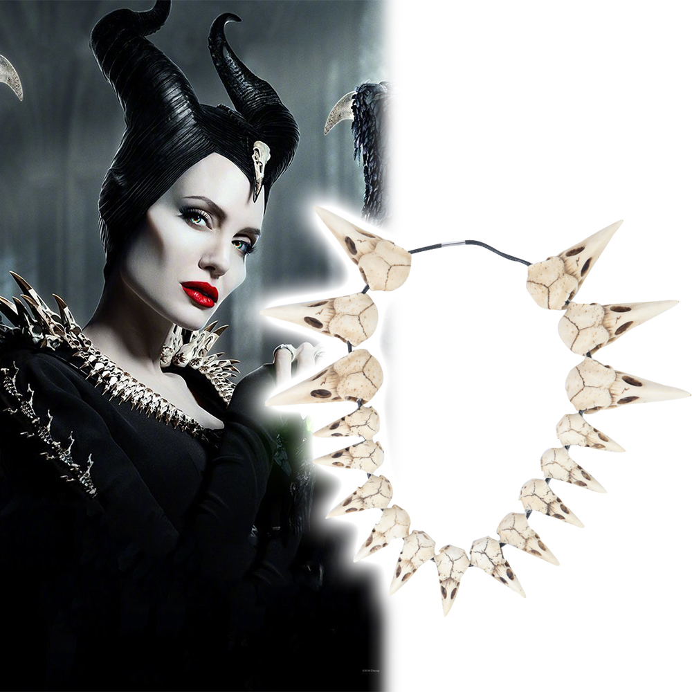 2019 New Movie Maleficent 2 LED Necklace Vintage Bird Beak Skull Charm LED Necklace Accessories Free Shipping image